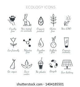 Eco friendly, ecology vector hand drawn icons set.  Organic cosmetics, zero waste, save earth and healthy lifestyle   sign and symbols