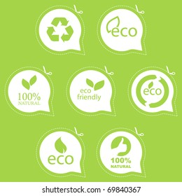 Eco friendly emblem. Bio concept. Quality signs, fresh eco food.