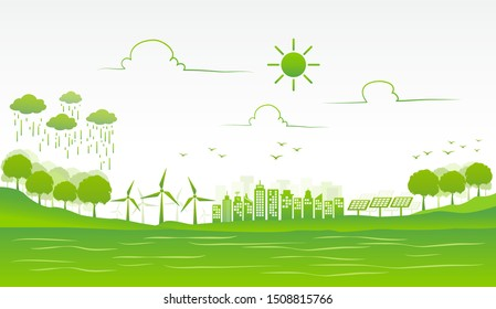 Eco friendly and environmental green city for sustainable development concept, vector illustration