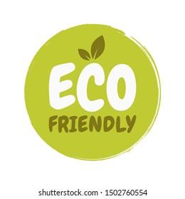 Eco Friendly Fresh healthy organic vegan food badge. Vector hand drawn illustration. Vegetarian eco green concept