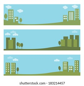 eco friendly, green city banners vector