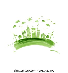 Eco friendly, Green city, Environmentally saving concept with watercolor paint, Vector illustration