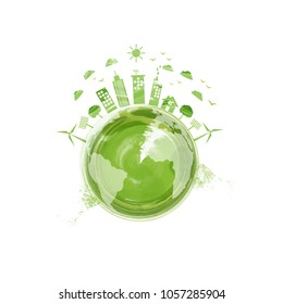 Eco friendly, Green city, World Environmentally saving concept with watercolor paint, Vector illustration