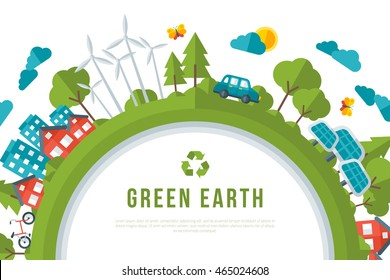 Eco Friendly, Green Energy Concept Frame. Vector Illustration. Earth Day.
