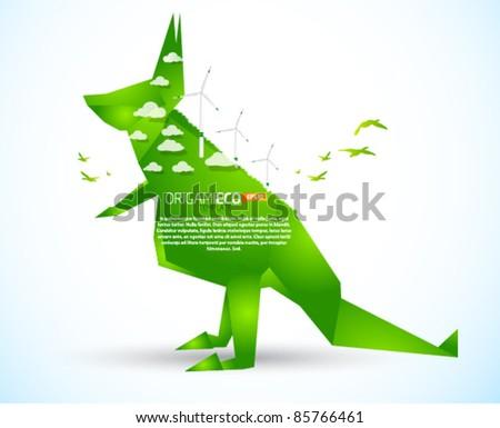 eco friendly green origami kangaroo template stock vector royalty