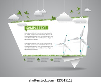 Eco friendly green origami template