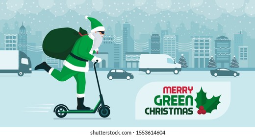 Eco friendly green Santa carrying gifts on a kick scooter in the city street on Christmas, sustanability and technology concept