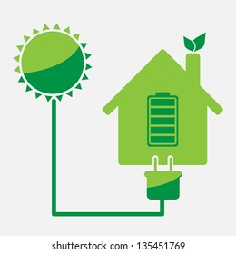 eco friendly house rechargeable from sun energy vector icon