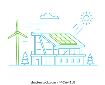 Eco friendly house with solar panel and wind turbine. Alternative green energy. Line design vector illustration