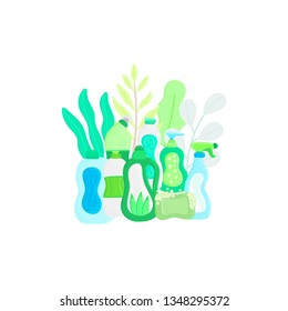 Eco friendly household cleaning supplies in leaves. Natural detergents. Products for house washing. Non chemical cleaners. Green home. Flat design. Banner, leaflet, brochure, lable, package. Vector