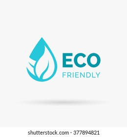 Eco friendly icon design. Ecology environment logo design. Environmentally friendly sign with water drop and leaf icon. Vector illustration.