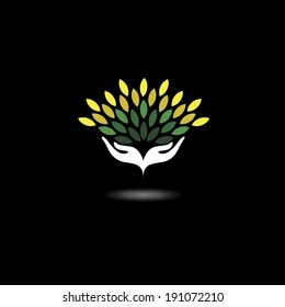 eco friendly icon with girls hands and green leaves - concept vector. The graphic illustration also represents nature protection, ecology, environment conservation, spa, etc