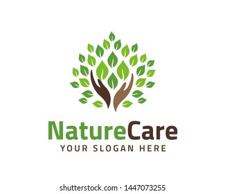 eco friendly icon with hands and green leaves - concept vector. The graphic illustration also represents nature protection, ecology, environment conservation, health.