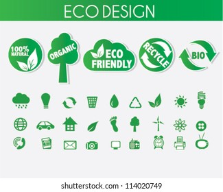 Eco Friendly Icons Design with Stickers