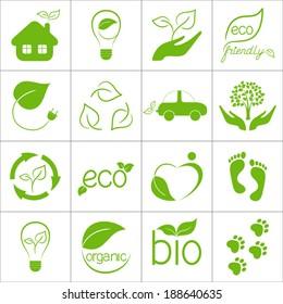 Eco friendly icons set