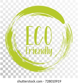 Eco friendly label vector, round emblem, painted icon for natural products packaging, clothing and food pack. Eco sign, ecological tag circle stamp, logo shape label design for recyclable goods