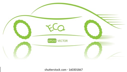 Eco friendly nonpolluting car in motion. Green energy hybrid car vector design. Simple creative green ecological racing vehicle with reflection. Easy to edit vector illustration.