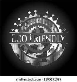 Eco Friendly on grey camo texture