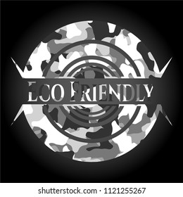 Eco Friendly on grey camouflage pattern