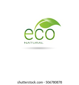 Eco Friendly Organic Natural Product Web Icon Green Logo Flat Vector Illustration