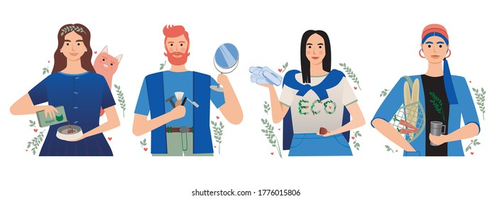 Eco friendly people isolated. Flat vector stock illustration. Eco friendly concept, vegan, zero waste, eco beauty. Illustration with zero waste eco friendly people. Isolated people save the planet