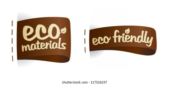 Eco friendly product fabric labels illustration.
