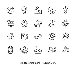 Eco friendly related thin line icon set in minimal style. Linear ecology icons. Environmental sustainability simple symbol. Editable stroke  - Shutterstock ID 1613065426