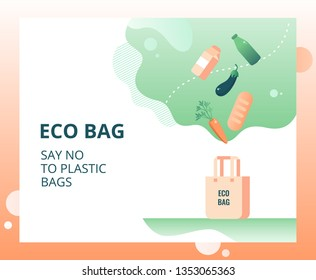 Eco friendly reusable shopping bag and falling organic food . Zero Waste (Say no to plastic) concept for landing page, template, ui, web. Vector