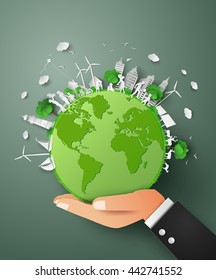 eco friendly and save the earth with  world on hand .paper art concept of earth day.