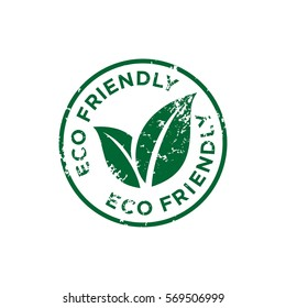 Eco Friendly Stamp Sign Vector Template Illustration Design. Vector EPS 10.