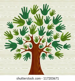 Eco friendly tree hands illustration for greeting card over wooden pattern. Vector file layered for easy manipulation and custom coloring.