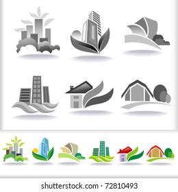 Eco Friendly Urban Architecture Symbols - ICON Set