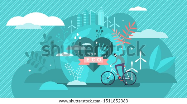 Eco friendly vector illustration. Flat tiny clean environment person concept. Sustainable bio food, power or transportation to save planet or reduce global warming. Natural health protection lifestyle