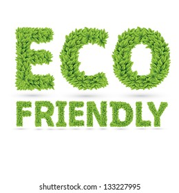 Eco friendly word made of green vector leafs