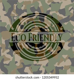 Eco Friendly written on a camouflage texture