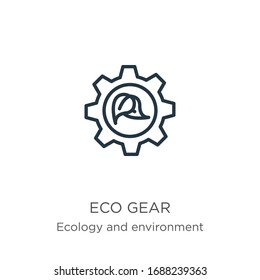 Eco gear icon. Thin linear eco gear outline icon isolated on white background from ecology and environment collection. Line vector sign, symbol for web and mobile
