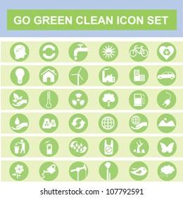 eco, go green, clean icon set