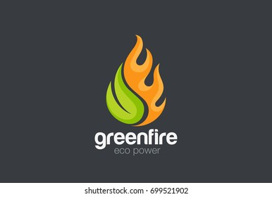 Eco Green Alternative Energy Logo design vector template. Leaf with Fire flame droplet shape Logotype concept icon.
