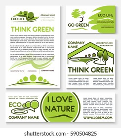Eco green business banner template set. Ecology and environmentally friendly business company poster, card and brochure with text layout, supplemented by nature landscapes, trees and plants