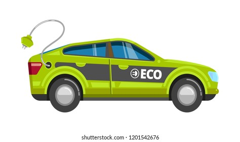 Eco green car. Electrical vehicle with charge battery alternative power energy vector eco transport cartoon isolated