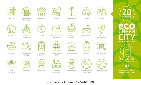 Eco green city editable stroke color line icon set with outline autonomous building, green roof, park, tree planting, forest, residents, healthy lifestyle, environmental products, ecological transport