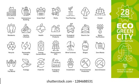 Eco green city editable stroke line icon set with environment ecology town infrastructure, renewable solar and wind electric energy, recycle technology, urban tree save, global friendly outline sign.