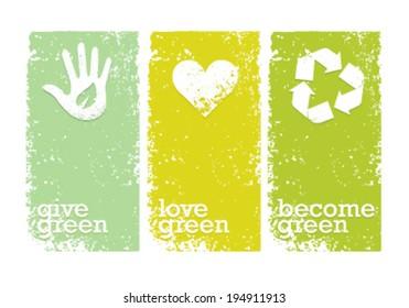 Eco Green Creative Organic Vector Banners Concept