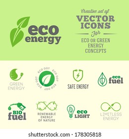 Eco or green energy concept vector icon or logo set with typography
