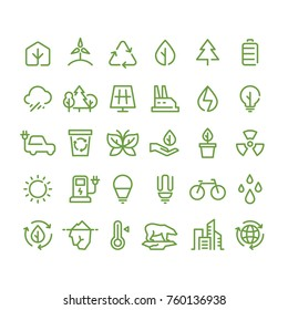 Eco and green environment vector line icons. Ecology and recycling outline symbols. Green energy environment, eco recycling power illustration