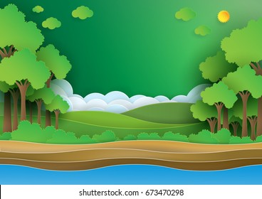 Eco green forest.Save the world and environment concept paper art style.Vector illustration.