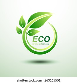 Eco green global labels concept with leaves,vector illustration