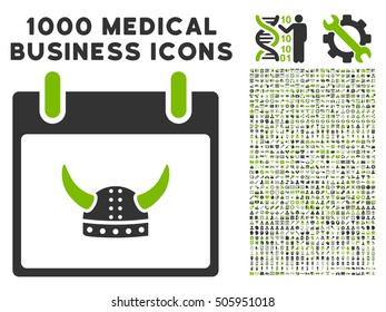 Eco Green And Gray Horned Helmet Calendar Day vector icon with 1000 medical business pictograms. Set style is flat bicolor symbols, eco green and gray colors, white background.