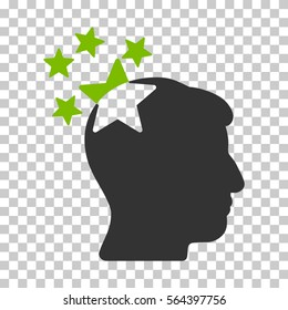 Eco Green And Gray Stars Hit Head interface pictogram. Vector pictograph style is a flat bicolor symbol on chess transparent background.