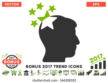 Eco Green And Gray Stars Hit Head icon with bonus 2017 trend pictograph collection. Vector illustration style is flat iconic bicolor symbols, white background.